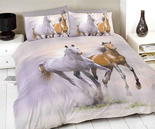 Wild Stallion Horses Running Duvet Cover Set