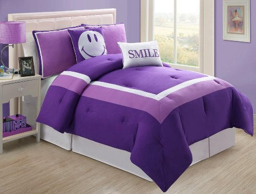 Victoria Classics Purple Smile Cute Comforter Set