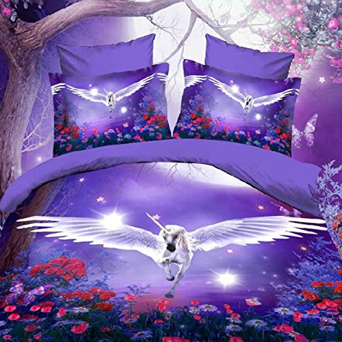 White Horse With Wings 3D Effect Purple Bedding Set