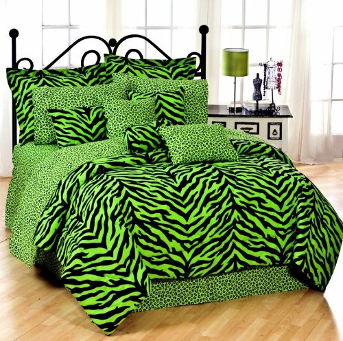 Cool Lime Zebra Comforter Set