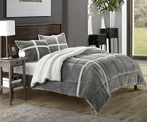 Cozy Sherpa Lined Plush Microsuede Silver Comforter Set