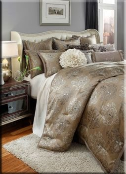 King Size Gold and Beige Comforter Set