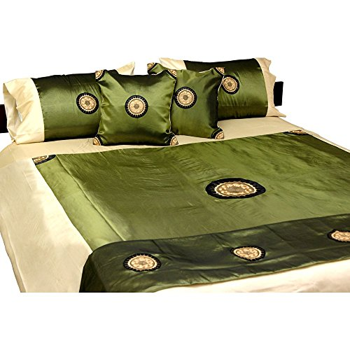 Elegant Olive Thai Satin Bedding Set