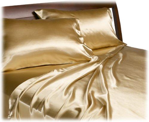 GOLD Satin Queen Sheet Set