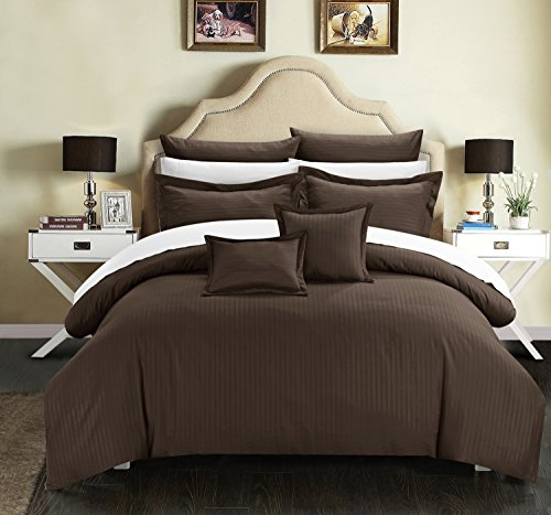 7 Piece Jacquard Striped Brown Comforter Set