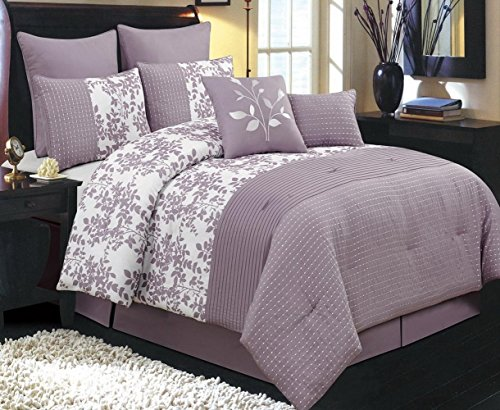 Beautiful 8pc Modern Purple Floral Leaves Design Hypoallergenic Comforter Set