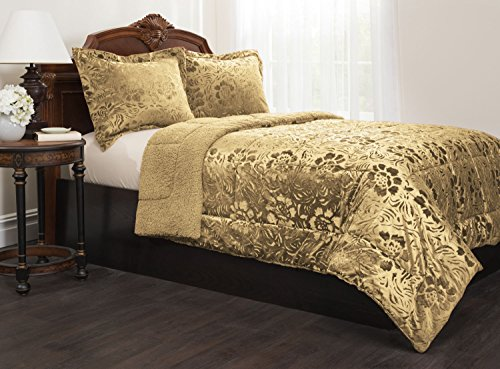 Floral GOLD Sherpa Quilted Fleece Comforter Set