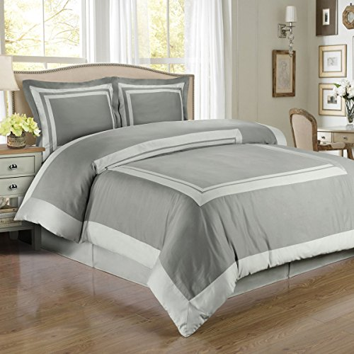 Elegant 4-piece Gray and White Hypoallergenic Duvet Cover Set