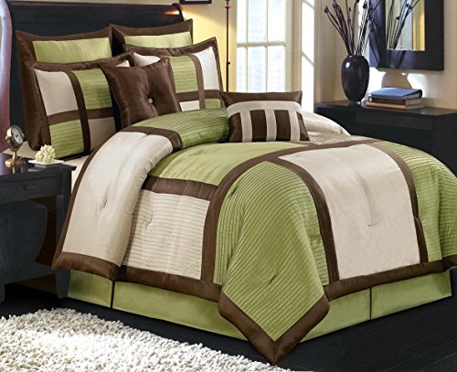 12pc Modern Brown and Green Hypoallergenic Comforter Set