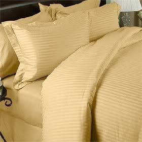 LUXURIOUS Gold Striped 1000 Thread Count 100% EGYPTIAN COTTON Hypoallergenic Comforter Set