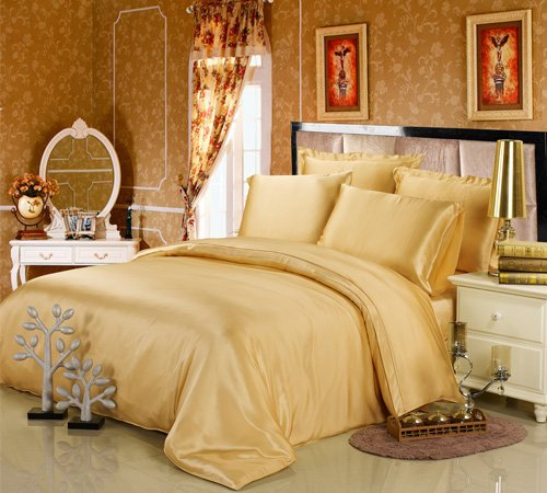 Beautiful Mulberry Silk Solid Gold Duvet Cover