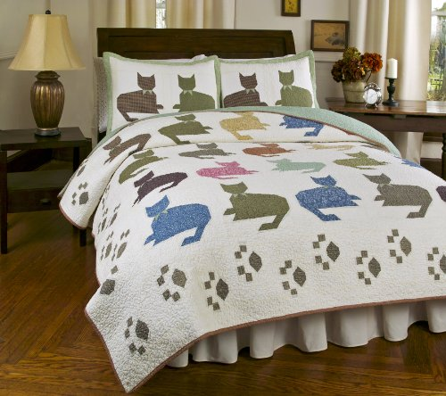 Cute Cat Print Quilt Set