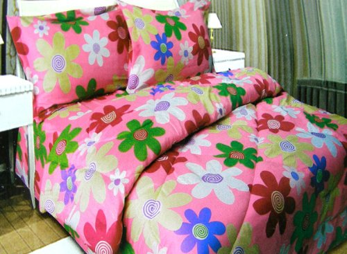 Adorable Daisy Flowers Micro Fiber PINK Comforter and Shams