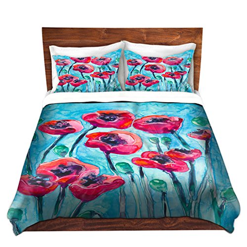 Artistic Poppy Flowers Design Bedding Set by DiaNoche Designs