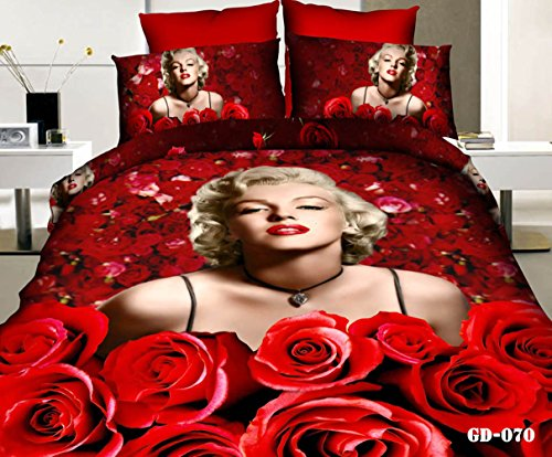 3D Marilyn Monroe and Red Roses 4pc Queen Size Duvet Cover Set