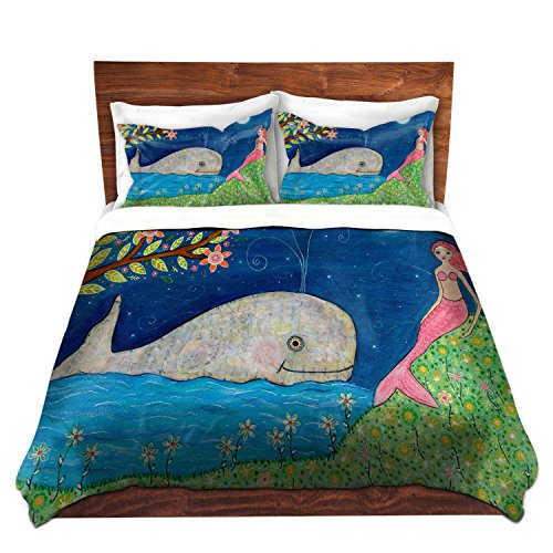 Unique Whale and Mermaid Design Brushed Twill Bedding Set