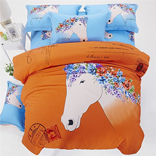 Cute Cartoon White Horse Orange Blue Bedding Set