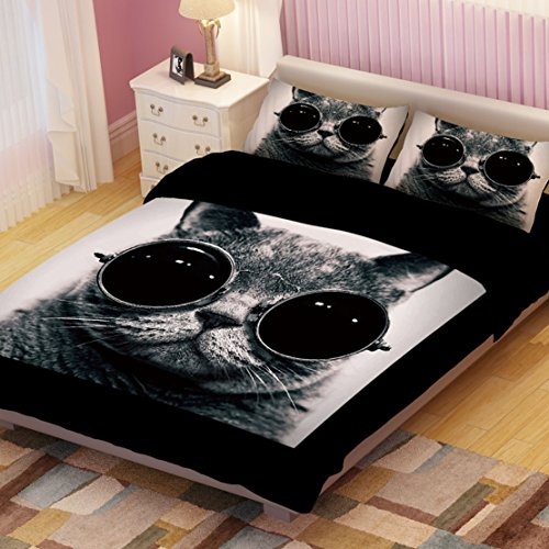 Cool Black Cat With Glasses Duvet Cover Set