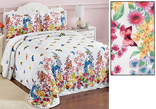 Colorful Butterfly Garden Quilted Bedspread