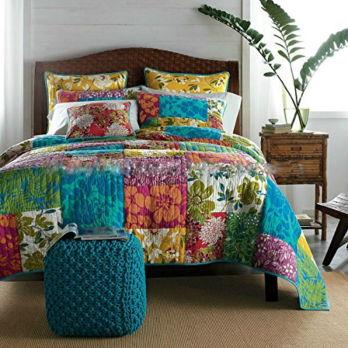 Colorful Flower Power Party Patchwork Quilt Set