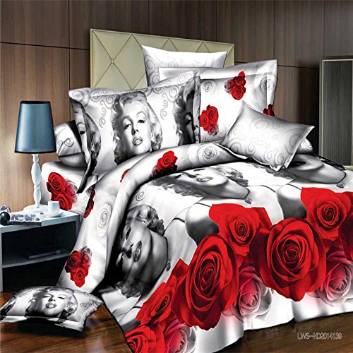 Full Size 5-pieces 3d Marilyn Monroe Red Roses Black and White Bedding Set