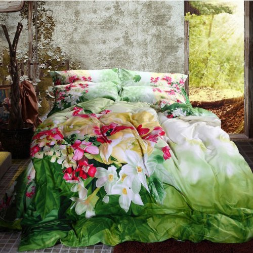 Cute Green Floral Duvet Cover Set