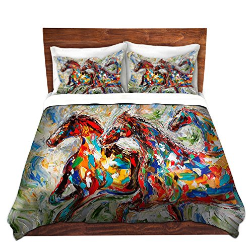 Artistic Brushed Twill Colorful Horses Running Bedding Set