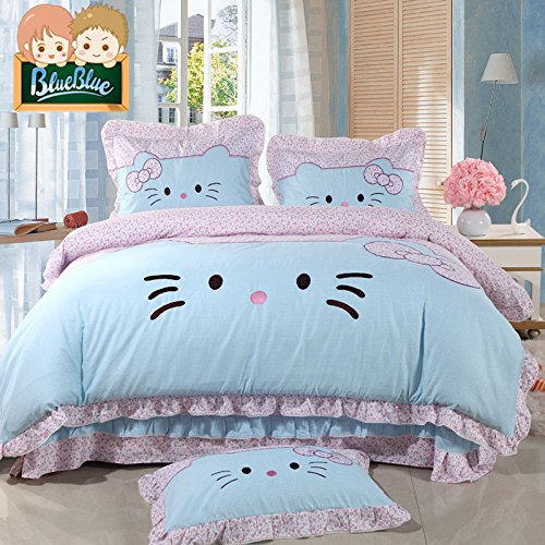 Adorable Blue Cartoon Cat Duvet Cover Set for Girls