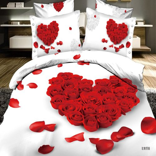 Gorgeous 3D Red Rose Heart Bedding
