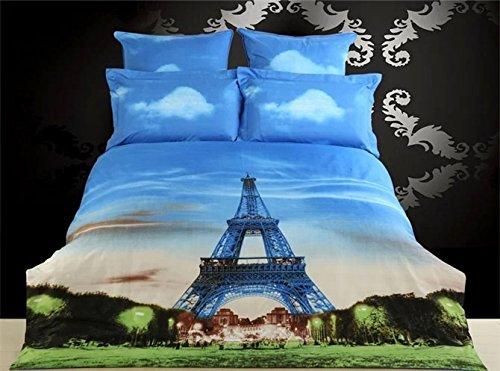 3d Eiffel Tower 4-Piece Cotton Bedding Set