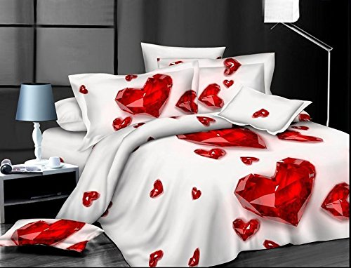 Unique 3D Red Heart Bedding Set