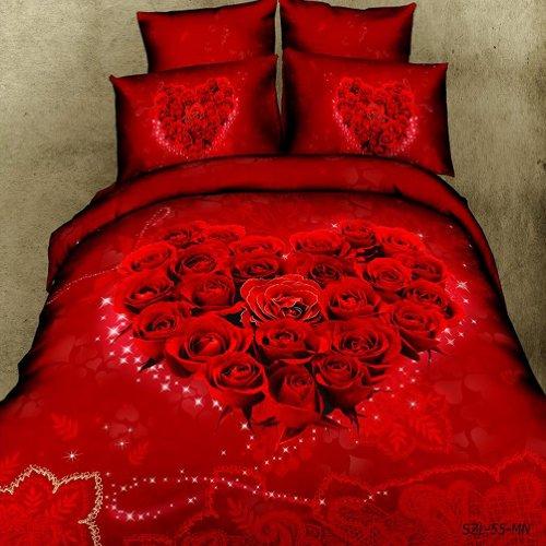 Romantic 3D Red Roses Love Heart Duvet Cover Set