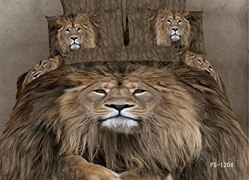 Queen Size Brown Lion Print Bedding Set