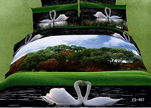 Unique Couple Swan in the Lake Forest 4-Piece 3d Duvet Cover Set