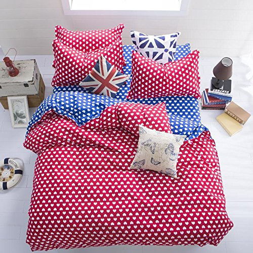 Adorable Red Sweet Heart Print Bedding Set