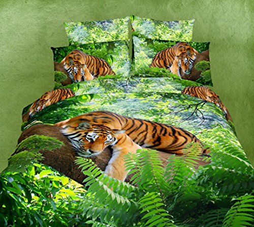Tiger Print 3D Print Duvet Cover Set
