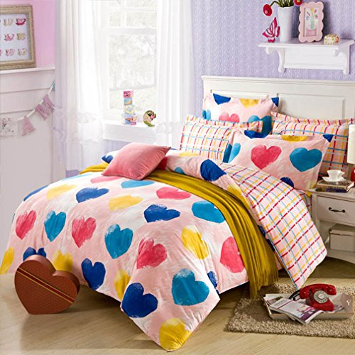 Colorful Hearts Print Bedding Set