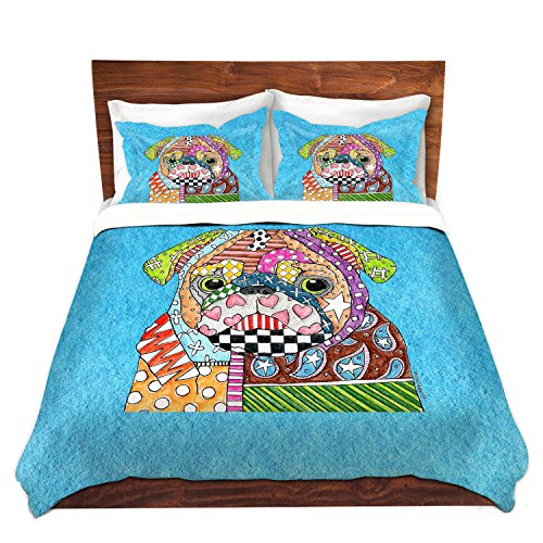 Gorgeous Pug Dog Design Aqua Color Bedding Set