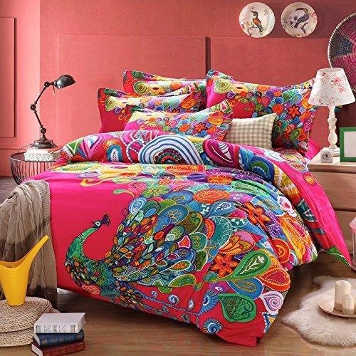 Bohemian Style Peacock Print Bedding Set