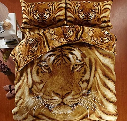 Brown Color 3D Tiger Bedding Set