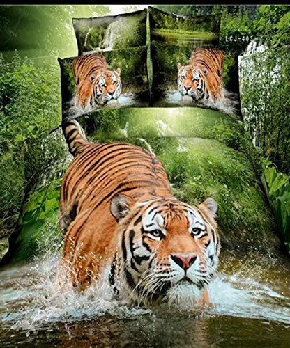 Realistic Tiger Wading through Jungle 4pcs Bedding Set