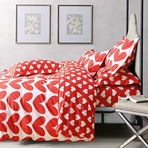 Red and White Hearts Bedding Set