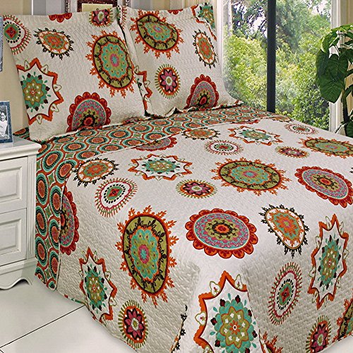 Mandala Pattern Lightweight Quilt Coverlet Set
