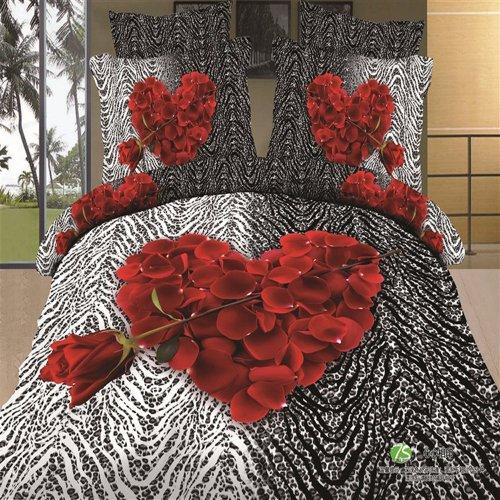 3D Heart Shape Rose Petals Duvet Cover Set