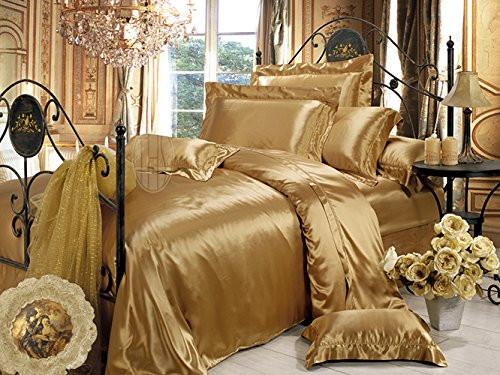 Solid Metallic Gold Silk Bedding Set