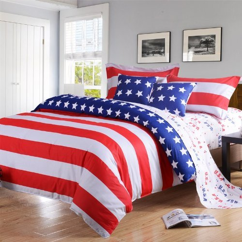 Classic American Flag Design Cotton Duvet Cover Set