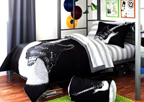 Black and White Electric Guitar Print Bedding Set for Teen Boys