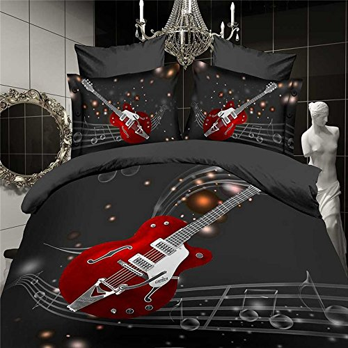 Red Guitar and Musical Notes 3D Bedding Set