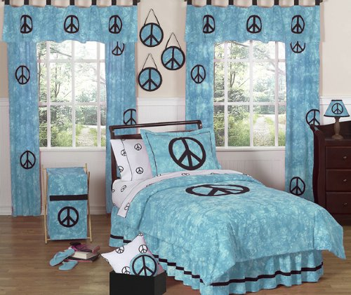 Groovy Peace Sign Turquoise Comforter Set