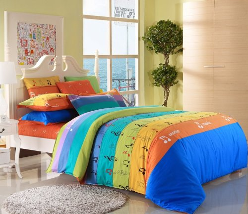 Cute and Colorful Music Notes Bedding for Teen Girls